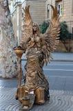 BARCELONA .Street Performer imitating statue fairy Royalty Free Stock Photography