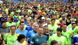 Barcelona streets crowded with runners Royalty Free Stock Photo