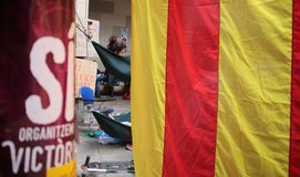 Barcelona students camp for independence. Students camp inside the barcelona university antique campus, during a massive demonstration pro independence in Stock Photo