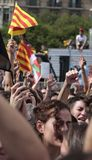 Barcelona students demonstration for independence vertical Royalty Free Stock Image