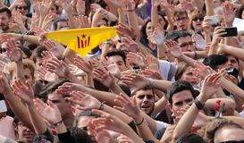 Barcelona students raise their hands during demonstration for independence Royalty Free Stock Images