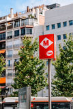 Barcelona Subway Metro Sign In Downtown Barcelona City Of Spain. BARCELONA, SPAIN - AUGUST 05, 2016: Barcelona Subway Metro Sign In Downtown Barcelona City Of Royalty Free Stock Photography