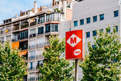 Barcelona Subway Metro Sign In Downtown Barcelona City Of Spain. BARCELONA, SPAIN - AUGUST 05, 2016: Barcelona Subway Metro Sign In Downtown Barcelona City Of Stock Images