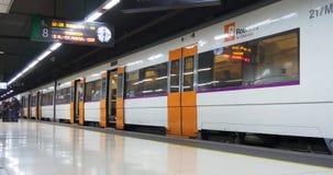 Barcelona subway station train 4k spain. Barcelona subway station train going 4k spain stock footage