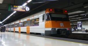 Barcelona subway station train moving 4k spain stock footage