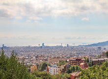 Barcelona in the summer day light. The view from the Park Guell Royalty Free Stock Image