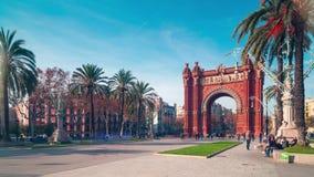 Barcelona sun light arc de triomf panorama 4k time lapse spain stock video footage