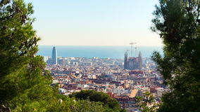 Barcelona sun light park guell city panorama 4k time lapse spain. Spain barcelona sun light park guell city panorama 4k time lapse stock footage