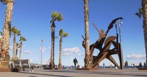 Barcelona sunny day beach panorama monument 4k spain. Spain barcelona sunny day beach panorama monument 4k stock video