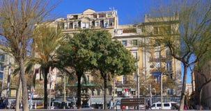Barcelona sunny day passeig joan de borbo walking bay 4k spain. Barcelona sunny day passeig joan de borbo walking bay spain 4k stock video