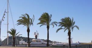 Barcelona sunny day yacht dock montjuic mountain 4k spain. Barcelona sunny day yacht dock montjuic mountain spain 4k stock footage