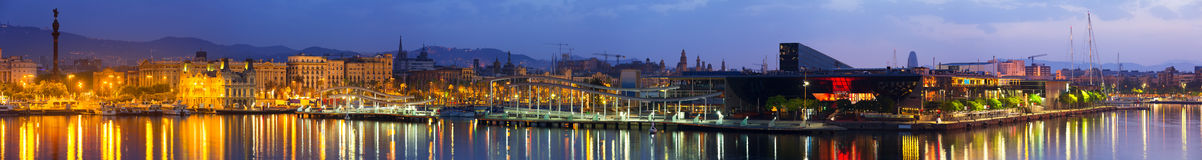 Barcelona in sunrise. Panorama of Port Vell at Barcelona in sunrise royalty free stock image