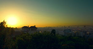 Barcelona sunrise timelapse. Time lapse of summer sunrise at city. Barcelona sunrise timelapse. View of city from Montjuic. Time lapse of summer sunrise at city stock footage