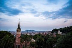 Barcelona Sunset Landscape royalty free stock image