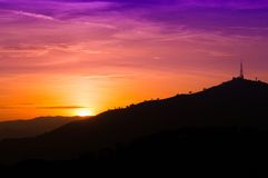 Barcelona sunset from Parc Guell. Sunset from parc Guell in Barcelona Stock Images