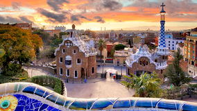 Barcelona at sunset, park Guell, nobody Royalty Free Stock Image