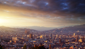 Barcelona in sunset time Stock Photo
