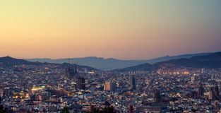 Barcelona in sunset time Royalty Free Stock Image