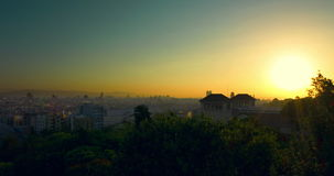 Barcelona sunset timelapse. View of city from Montjuic. Barcelona skyline. Barcelona sunset timelapse. View of city from Montjuic. Timelapse of sunset in stock video