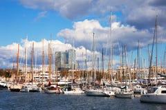 barcelona target1113_1_ jachty portowi Spain vell jachty Barcelona Zdjęcia Stock