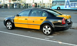 Taxi in Barcelona. Typical taxi yellow and black in Barcelona, Spain Royalty Free Stock Photography