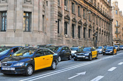 Barcelona taxi cars Royalty Free Stock Photography
