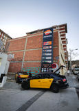 Barcelona taxi on a petrol station Stock Photos