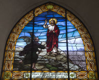 Barcelona - temptation of Christ. From church Sagrad cor de Jesus stock photo