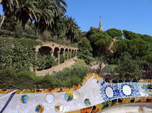 Barcelona. A terrace  in park Guell Stock Photography