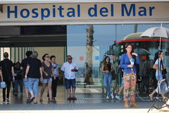 Barcelona terrorist attack reporters from Hospital del Mar Royalty Free Stock Image