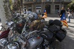 Barcelona 11th av September 2017, Spanien: Avbrytarmotocycleswi Arkivfoto