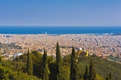 Barcelona from the Tibidabo hill Stock Image