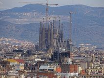 Barcelona from top in spring royalty free stock image