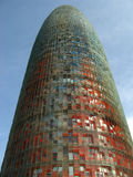 Barcelona, Torre Agbar 01. The famous, phallic modern architectural tower, Torre Agbar, in Barcelona, Spain Royalty Free Stock Photos