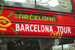 Barcelona Tour Red Bus Stock Photo