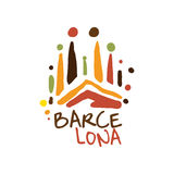 Barcelona tourism logo template hand drawn vector Illustration. For travel agency, tour guide, sticker, banner, card, advertisement Stock Images