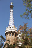 Barcelona. A tower  at an input in park Guell Stock Image
