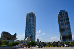 Barcelona towers in olympic village. Skyscrapers in Olympic Village in Barcelona, Spain Stock Photo