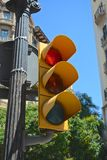 Barcelona traffic lights. Barcelona city traffic lights currently on red for stop Stock Photo