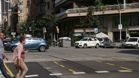 Barcelona Traffic at Rush Hour Time Lapse. Vehicles on the streets and squares of the city stock footage
