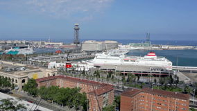 Barcelona traffic timelapse, cableway, ships, cars Stock Photography