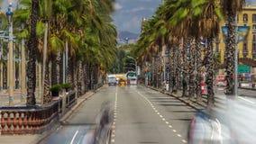 Barcelona trafiktimelapse Sikt som ses från Columbus Column Passeig De Colom gata och Barceloneta område lager videofilmer