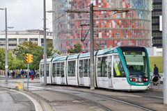 Barcelona tram with Agbar tower Stock Photography