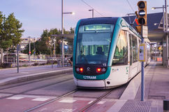 Barcelona tram at dusk Royalty Free Stock Images