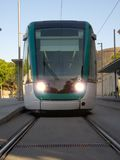 Barcelona tram from the front Royalty Free Stock Image