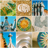 Barcelona travel collage with Antonio Gaudi architectural detail Royalty Free Stock Image
