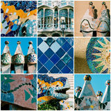 Barcelona travel collage with Antonio Gaudi architectural detail Stock Photos