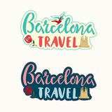 Barcelona travel lettering set with Cathedral silhouette, rose and birds tourist design style template, brochure, sticker, invitat. Barcelona travel lettering vector illustration