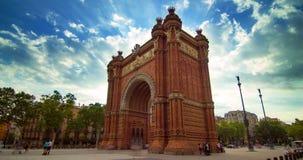 Barcelona triumphal arc. Timelapse of clouds sky over Barcelona triumphal arch stock video footage