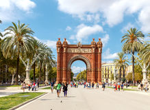 Barcelona. Triumphal Arch. Barcelona, Spain - September 6, 2015: The Arc de Triomphe is one of the main attractions of Barcelona.The arch was built for the Stock Photo